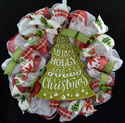 Happy New Year Wreath | New Years and Christmas Door Wreath | Red Green - Wreath New Years