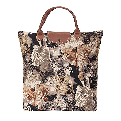 (Cat Print Tapestry Tan Fold-able Reusable Grocery Shopping Bag by Signare (FDAW-CAT))