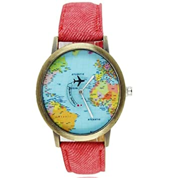 Joylive World Map Watch Watches Women Men Denim Fabric Watch Quartz Relojes Mujer Relogio...