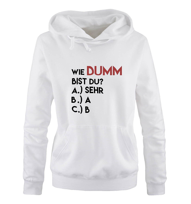 K/ängurutasche Wie dumm bist du? Comedy Shirts Kapuze Damen Hoodie Langarm Print-Pulli