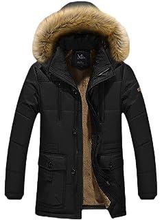 RRINSINS Mens Cotton Linen Front Zip Winter Outdoor Hooded Down Jacket Parkas
