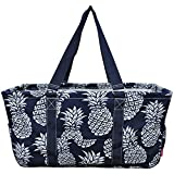 N. Gil All Purpose Open Top 23'' Classic Extra Large Utility Tote Bag 3 (Southern Pineapple Navy Blue)