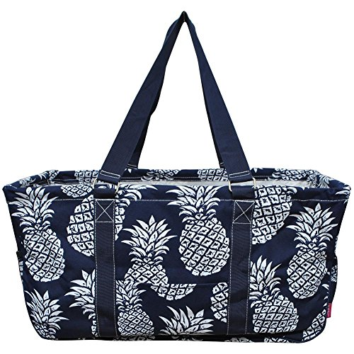 N. Gil All Purpose Open Top 23'' Classic Extra Large Utility Tote Bag 3 (Southern Pineapple Navy Blue) by N.Gil