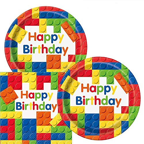 Colorful Building Blocks Birthday Party Plates and Napkins (Serves 16)]()