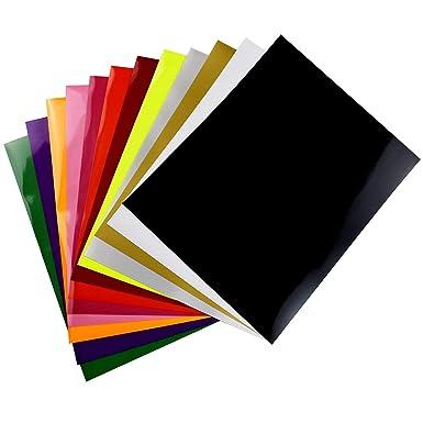 Vinilo de transferencia de calor para tela de camisetas - 12 hojas de colores surtidos - Hierro en HTV Kit de inicio de color vinilo para Cricut y Silhouette Cameo, 30x25cm: Amazon.es: