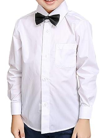 29ce56a6702e6 Snoneシャツ ワイシャツ 長袖 ベビー キッズ 白 蝶ネクタイ リボン ネクタイ 付き 2点 セット フォーマル
