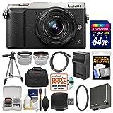 Panasonic Lumix DMC-GX85 4K Wi-Fi Digital Camera & 12-32mm Lens (Silver) with 64GB Card + Case + Battery & Charger + Tripod + Tele/Wide Lens Kit