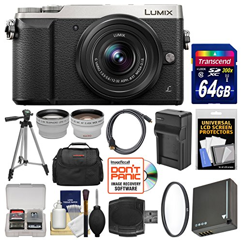 Panasonic Lumix DMC-GX85 4K Wi-Fi Digital Camera & 12-32mm Lens (Silver) with 64GB Card + Case + Battery & Charger + Tripod + Tele/Wide Lens Kit by Panasonic