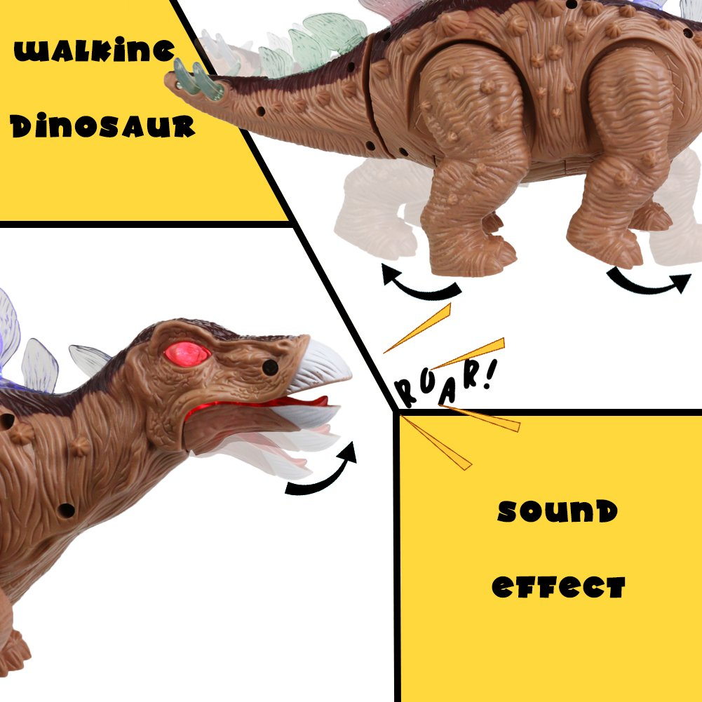 Fajiabao Dinosaur Toy Stegosaurus Electric Walking with Roar Sound and Colorful LED Light Glow Realistic Brown for Children Toddlers Kids Boys Girls