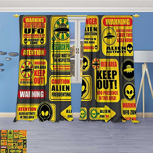 Flower Design Foil Printed Grommet Thermal Insulated Window Panels Warning Signs with Alien ces Heads Galactic Paranormal Activity For Kidsroom, 84W x 72L Inch by Vanfan