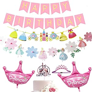 Dxary Princess Party Decoration Supplies Kit, Princess Birthday Party Include Flower Shape Princess Birthday Banner Castle Cake Topper Elastic Crown Hair Band and Crown Foil Ballon For Girl Kids Princess Party Decor
