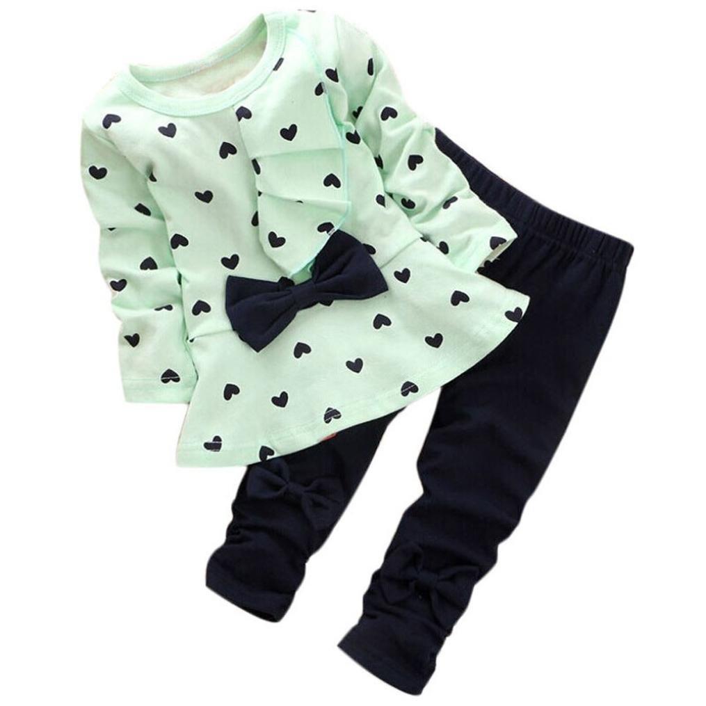 squarex Baby Clothes Pants Sets Heart-Shaped Print Bow Cute 2PCS Kid T Shirt