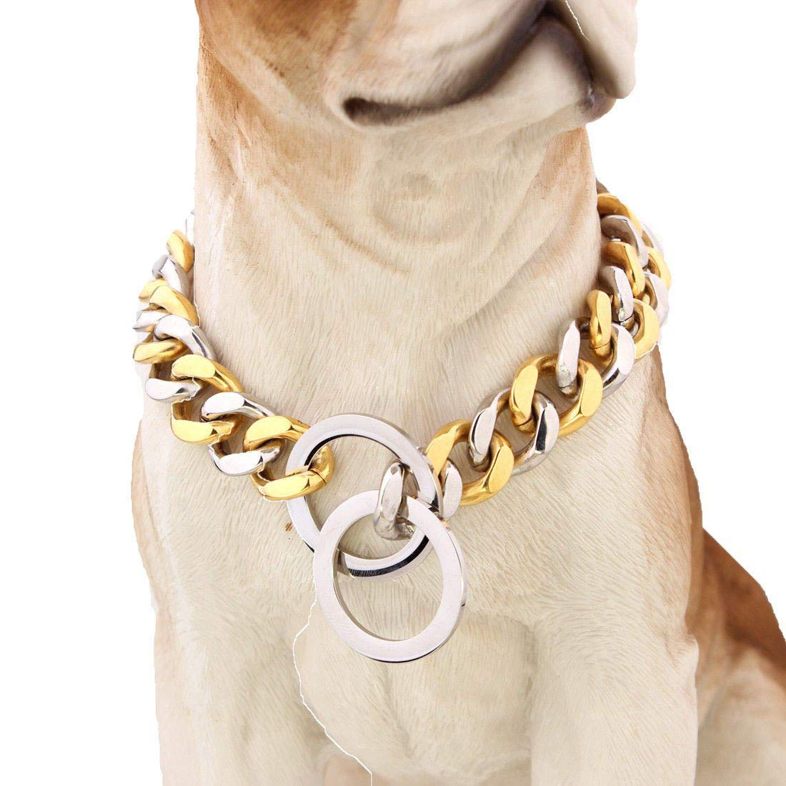 15mm Stainless Steel Chain Dog Choke Collar Heavy Duty for Medium Large Breeds Training Slip Collar,18inch