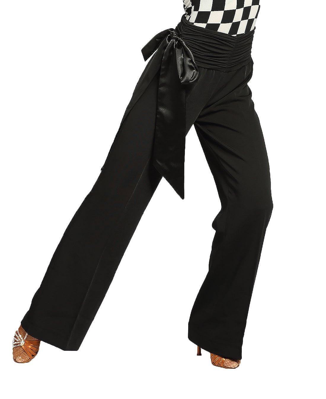 g4007モダン社交ダンス/ボールダンスプロフェッショナルクラシックサテンリボンゴムストレートパンツ/パンツによって提供gloriadance B07DMYZHHN Black(sbs) Large