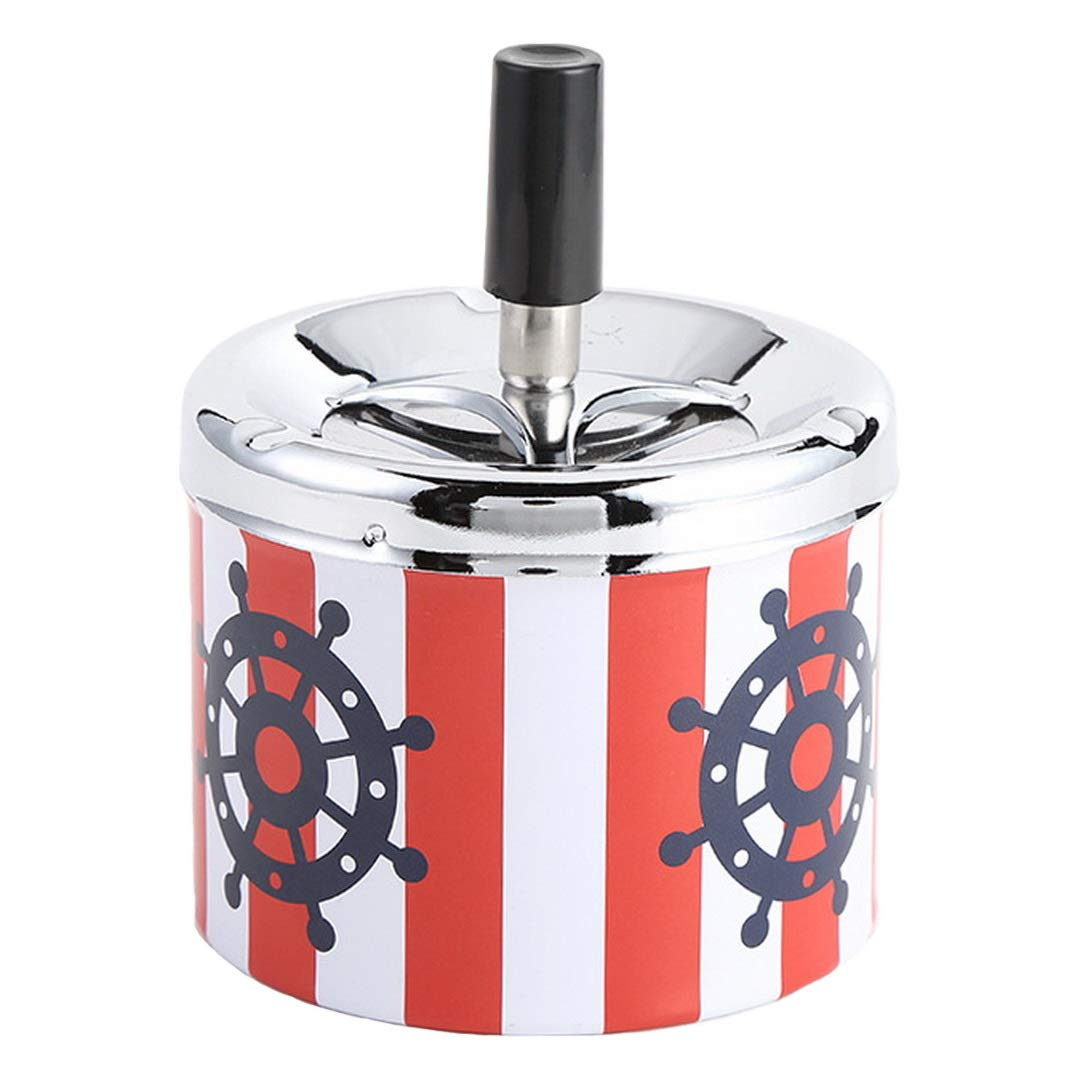 Kepfire Creative Metal Tinplate Ashtray Round Windproof With Lids Press Rotary Portable Ash Tray Living Room Bar Office Smoking Accessories