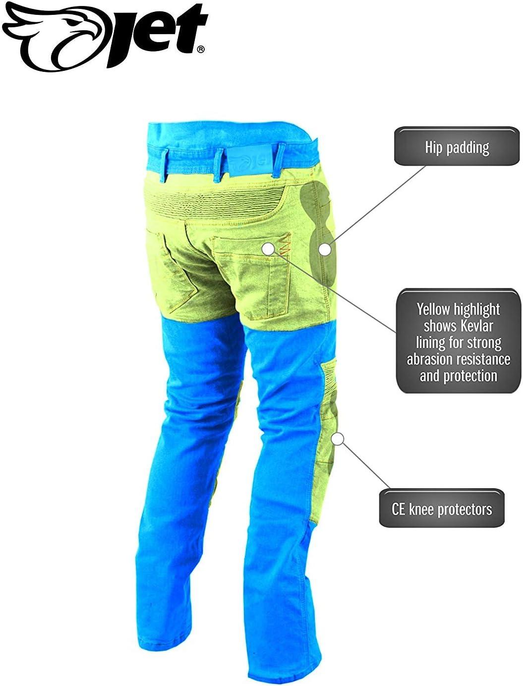 Bleu, UK W34 L34 // EU 50 Long Jet Pantalon Moto Homme Jeans Kevlar Aramid avec Armure Tech Pro