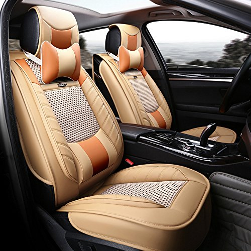 ANKIV FULL SET Universal Fit 5 Seats Car Solid Color Waterproof PU Leather Car Seat Covers Protectors