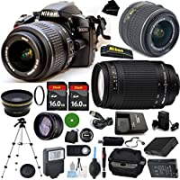 D3200 24.2 MP CMOS Digital SLR, NIKKOR 18-55mm f/3.5-5.6 Auto Focus-S DX VR, 70-300mm f/4-5.6G, 2pcs 16GB BaseDeals Memory, Case, Wide Angle, Telephoto, Flash, Battery, Charger