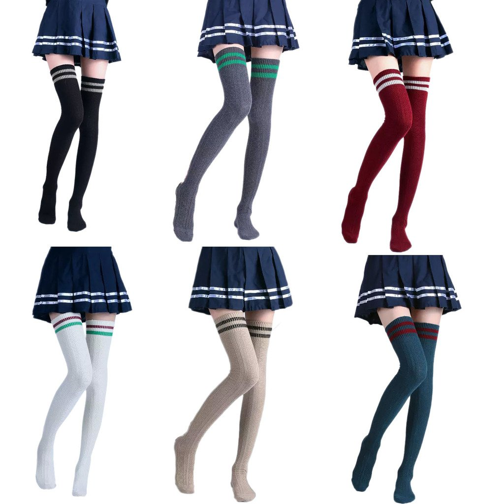 Vimans 2016 Women's Stripe Over the Knee High Socks Knit Thigh High Stockings Pack of 6 I