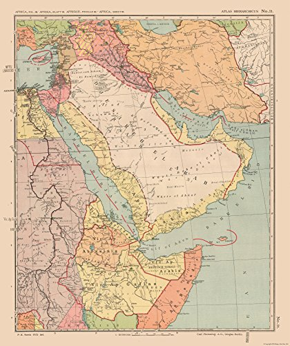 MAPS OF THE PAST International Map - Arabia, Middle East - Streit's Atlas 1913-23 x 27.41 - Matte Art (Middle East Paper)