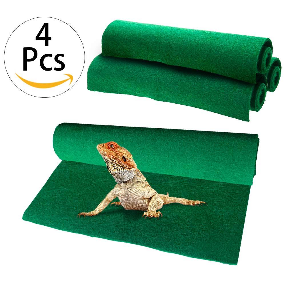 "Reptile Carpet 4pcs Terrarium Substrate Liner Pet Habitat Bedding Soft Green Mat for Bearded Dragon Lizards Gecko Chamelon Iguana Turtles Snakes (15.7"" x 11.8"")"