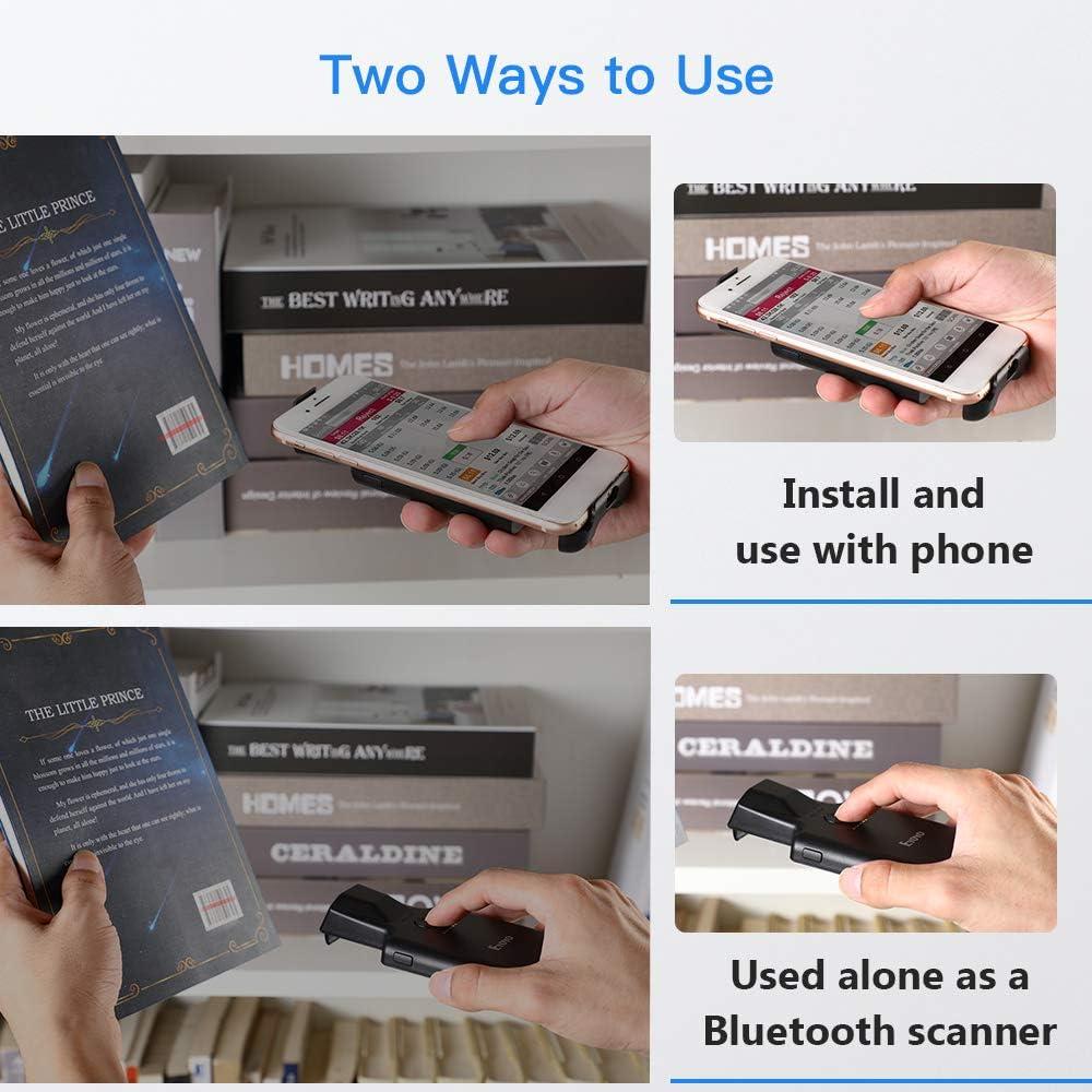 funziona con Android lettore di codici a barre wireless con clip posteriore portatile iOS per inventario di magazzino Lettore di codici a barre Bluetooth Eyoyo 1D batteria ricaricabile da 1050 mAh