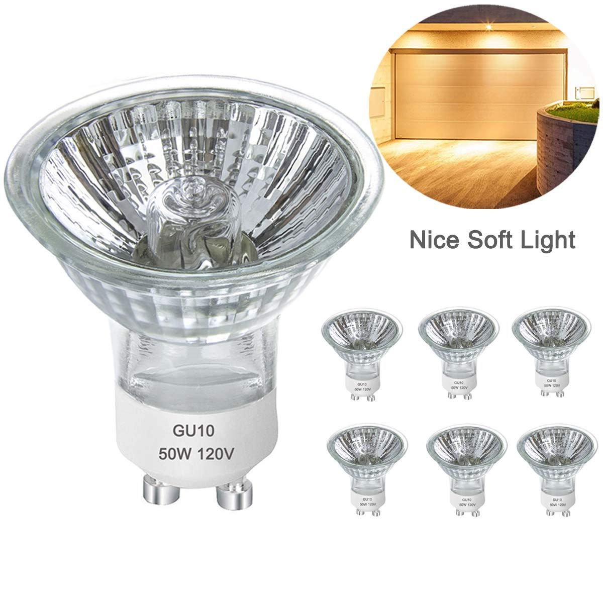 GU10 Bulb, 6pcs 120V 50W GU10 Halogen Flood Light Bulbs, Premium Quality for Long Lasting Life, GU10 Base, MR16/FL/GU10, MR16 with Glass Cover for Accent Light, Tracking Light, Landscape Lights