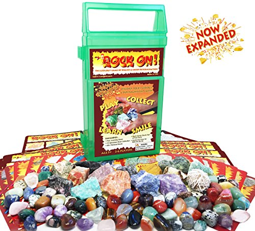 ROCK ON! Geology Game with Rock & Mineral Collection – Collect and Learn with STEM-based Educational Science Kit in Carrying Case - Amethyst, Rhodonite, Selenite Crystal, Sodalite and lots (School Of Rock Birthday Party)