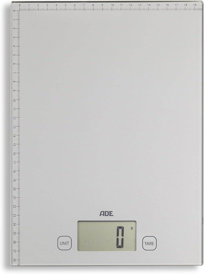 ADE Báscula digital multifunción KE1700 Bridget. Pesa y mide hasta 20 Kg. Báscula de paquetes. Cinta métrica. Incluye las baterías. Color Plata