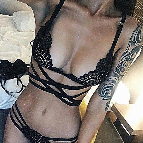 FUDUODUO Escriba Tres Puntos Huecos Correa Cruzada Underwear,Negro,S XL