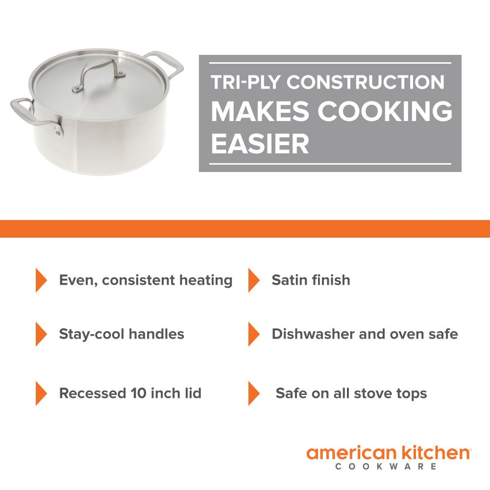 Amazon.com: Stainless Steel Cookware - American Kitchen 6-Quart ...