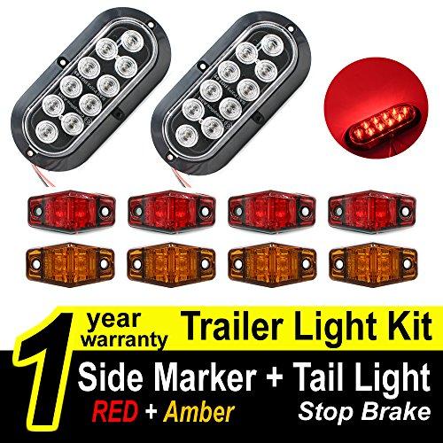 TMH Trailer Light KIT ( Pack of 2 ) 6 Oval Clear Lens Stop Turn Brake Red Tail Light Lamp + ( Pack of 8 ) Side Led Marker Light ( Red & Amber ) For Truck, Trailer, Boat Trailer, Tractors, Bus