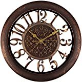 Adalene Wall Clocks Large Modern - Battery Operated Non Ticking 13 Inch Elegant Wall Clock Silent, Quiet Analog Quartz Home Decor Vintage Decorative Wall Clock For Living Room, Kitchen, Rustic Brown