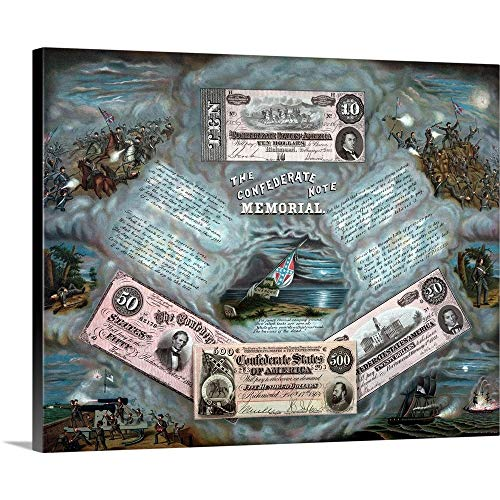 GREATBIGCANVAS Gallery-Wrapped Canvas Entitled Vintage Civil War Print Showing Four reproductions of Confederate Currency Notes by John Parrot 20
