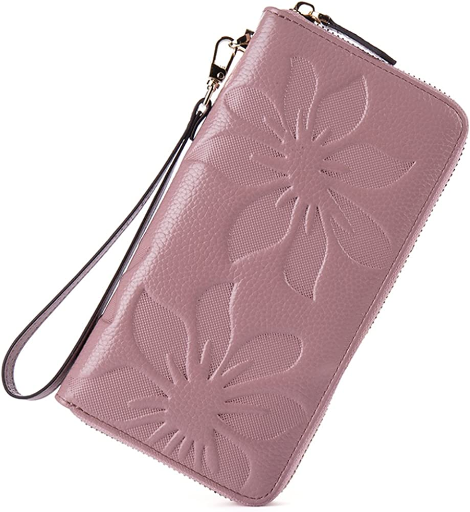 BOSTANTEN Womens Leather Wallets Credit Card Cash Holder Large Capacity Clutch Wristlet Taro Pink