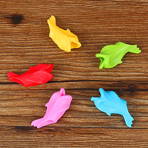 Ergonomic Silicone Universal Dolphin Pencil Grips Aid for Children's Better Hand Writing and Control Pencil Grips(5 Pieces) by GerTong (Image #8)