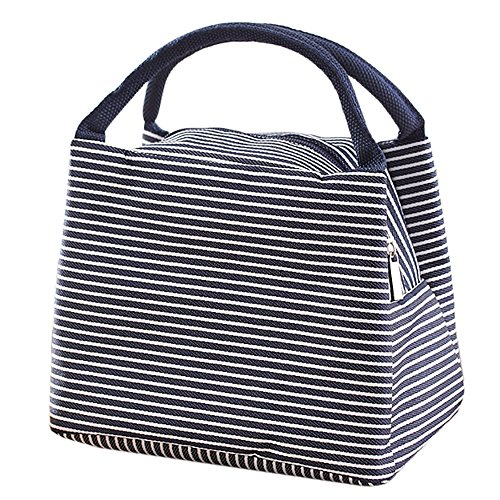 Lunch Bag Tote Bag / Reusable Lunch Organizer / Waterproof Lunch Holder Container by Kaimao (Blue stripes)