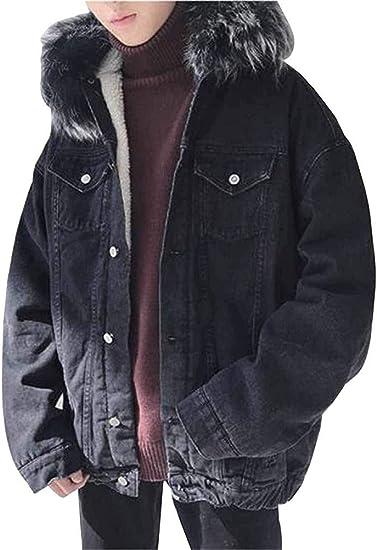 [ZhangSong] 冬子羊 カシミヤ 厚い暖かい綿 スーツ 男性 韓国風バージョン トレンド大きな毛皮 襟デニムジャケットコットンジャケットコットンジャ