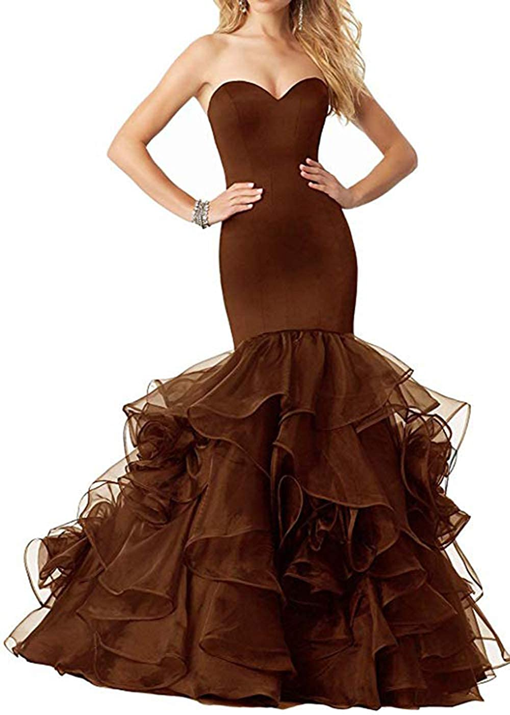 Coffee Women's Sweetheart Mermaid Prom Dresses Long Strapless Ruffle Organza Formal Evening Ball Gowns 2019
