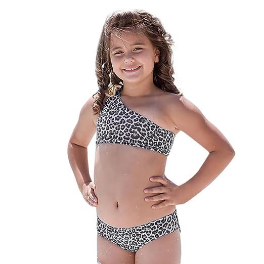 de69b212 Transer Toddler Kids Baby Girls Leopard Print Bowknot Swimsuit Swimwear  Bathing Suit Tankini Bikini Set (