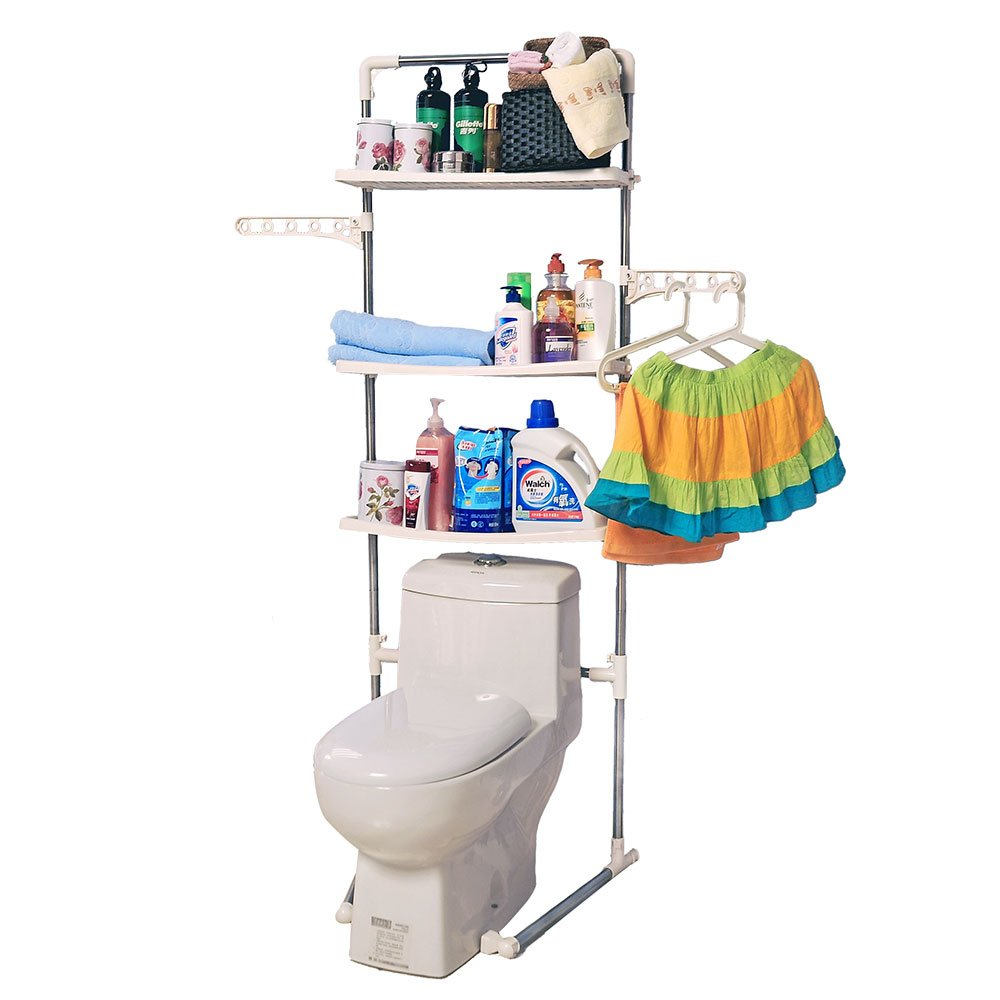 Baoyouni 3-Tier Bathroom Organizer Over Toilet, Stainless Steel Material,Ivory