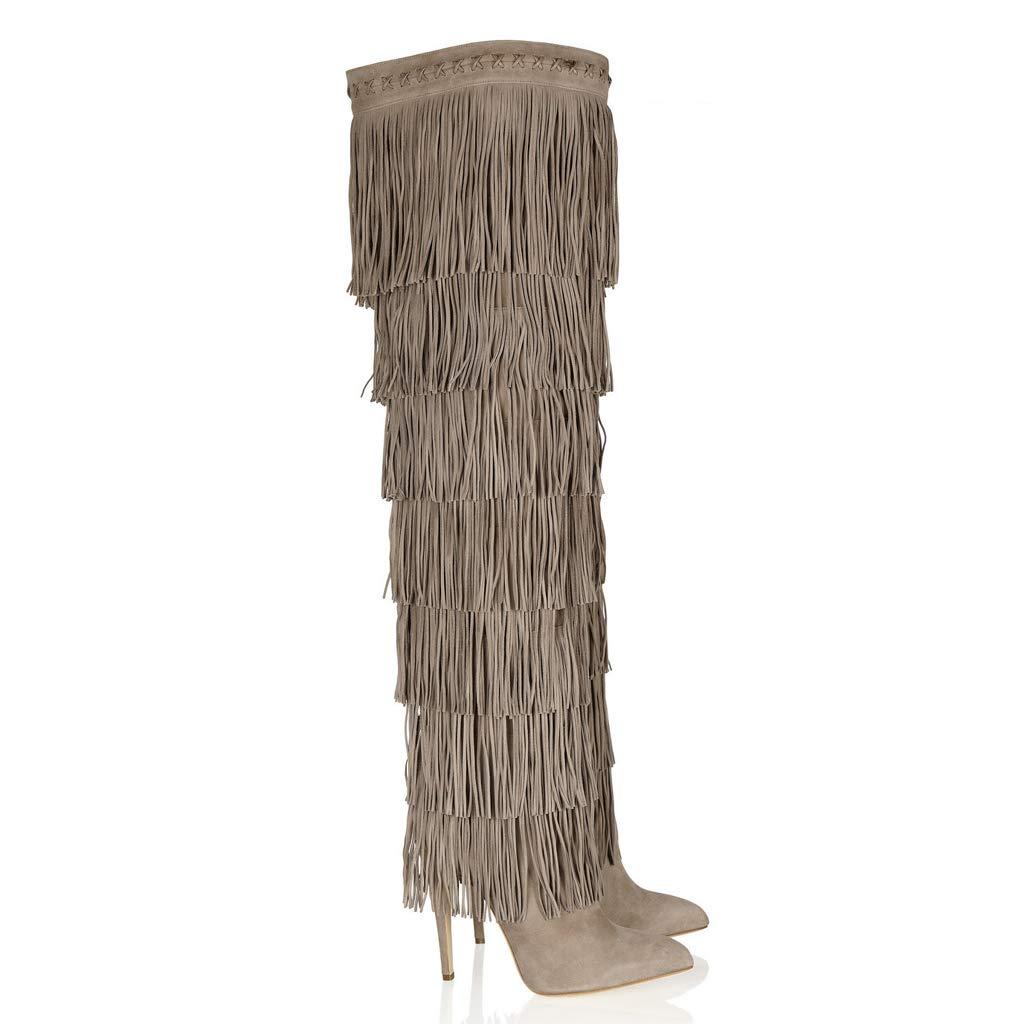 TYX-LJJ Lange Stiefel Frauen, Wies Troddeln High Heels Mode Stiefel Stiefel
