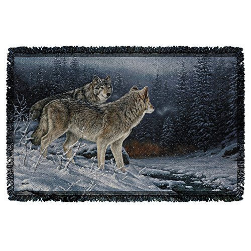 Wild Wings Twilight Hunters 2 Woven Throw White 48X80