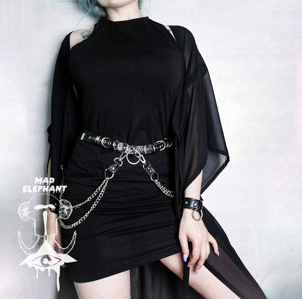 Genuine leather chain belt with o ring waist harness bondage