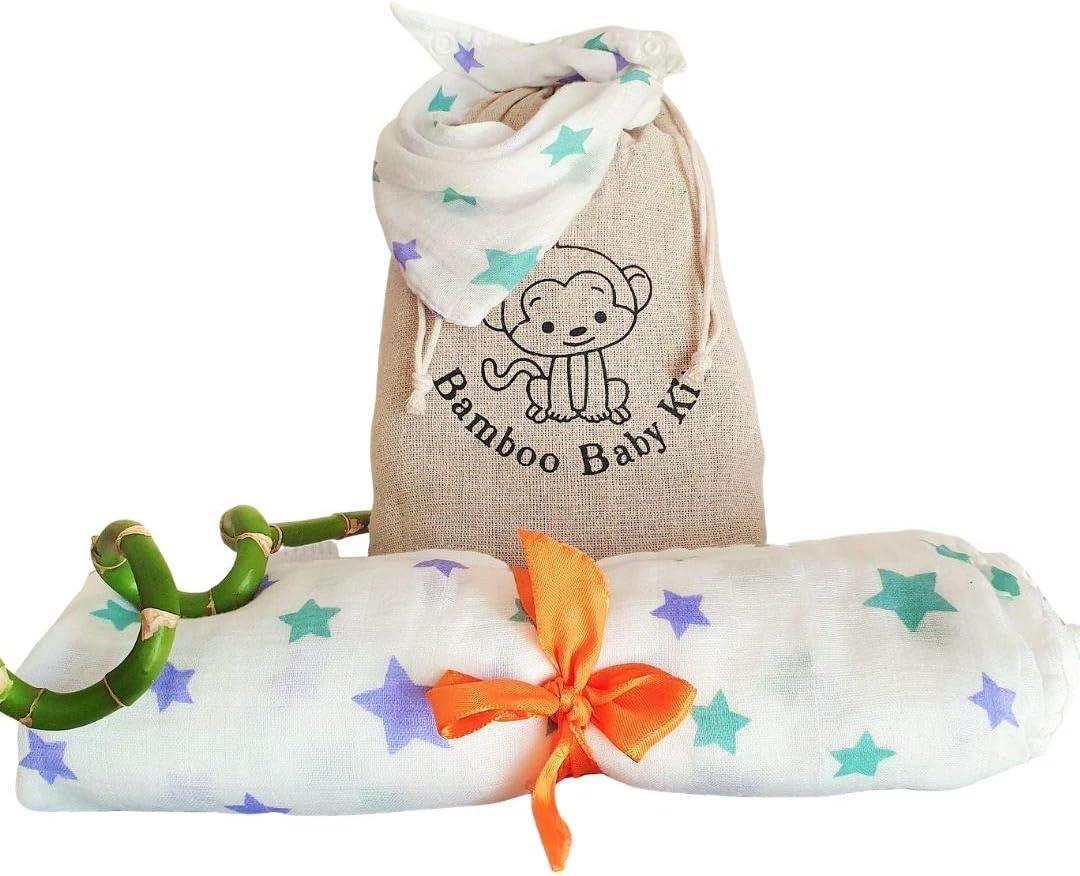 Manta de Muselina 120x120cm + Babero Bandana + Bolsa de Pañales Regalo. Kit Bebé 100% Algodón de Bambú Madres Recientes Lista de Nacimiento Swaddle Sábana Antibacteriano Transpirable