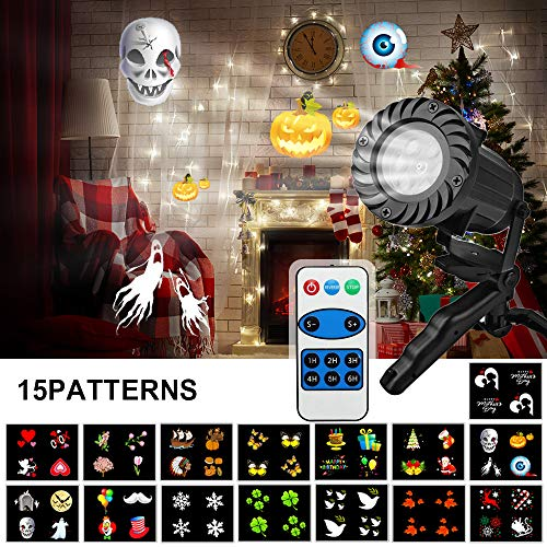 LED Christmas Light Projector, Waterproof Outdoors LED Halloween Light Projector Light with Remote - 15 Pattern Slides Dynamic Light Projector Landscape Spotlight Decor for Christmas, Xmas,Party