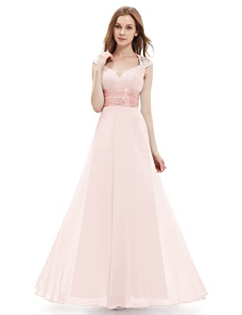 Ever-Pretty Chiffon Sexy V-neck Ruched Empire Line Evening Dress 09672 - Pink