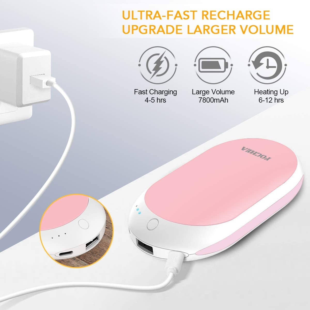 USB Chaufferette Main R/éutilisable Portable Batterie Externe Chauffe-Poche /électronique pour Le Ski la randonn/ée Cadeau de No/ël Parfait lescalade YGY 7800mAh Chauffe-Mains Rechargeable