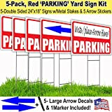Parking Lawn Sign Kit with Free Permanent Poster Marker and Arrow Stickers (5)