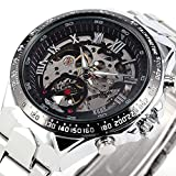 CALUXE Vogue Men Skeleton Mechanical Watches Sliver Stainless Steel Roman Number Dial Sports Design + BOX